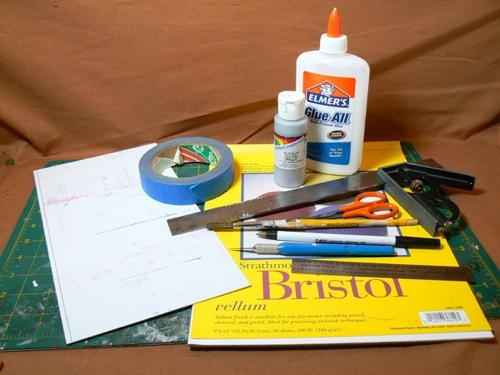 Photograph of materials for making HO scale corrugated roofing using Bristol Board   and paint